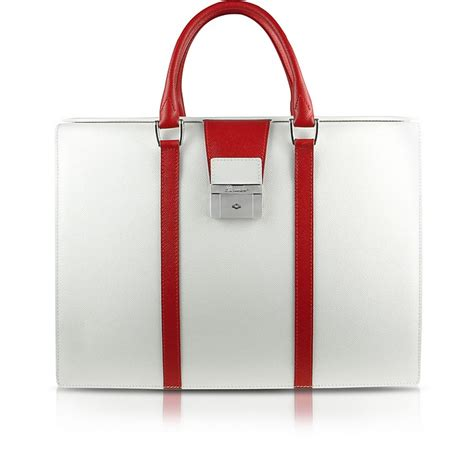 City Chic Gift Card Australia - pineider white red city chic women s double gusset calfskin briefcase at forzieri