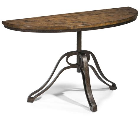 Small Demilune Hall Console Table With Reclaimed Wood Top And Wrought Iron Base For Saving Small