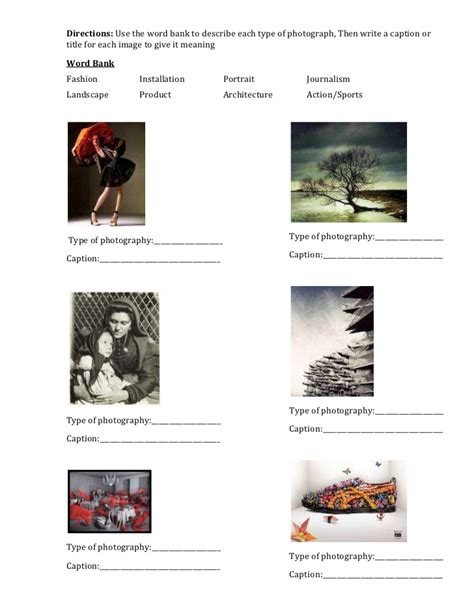 Photography Worksheets by 001 Type Of Photo Worksheet