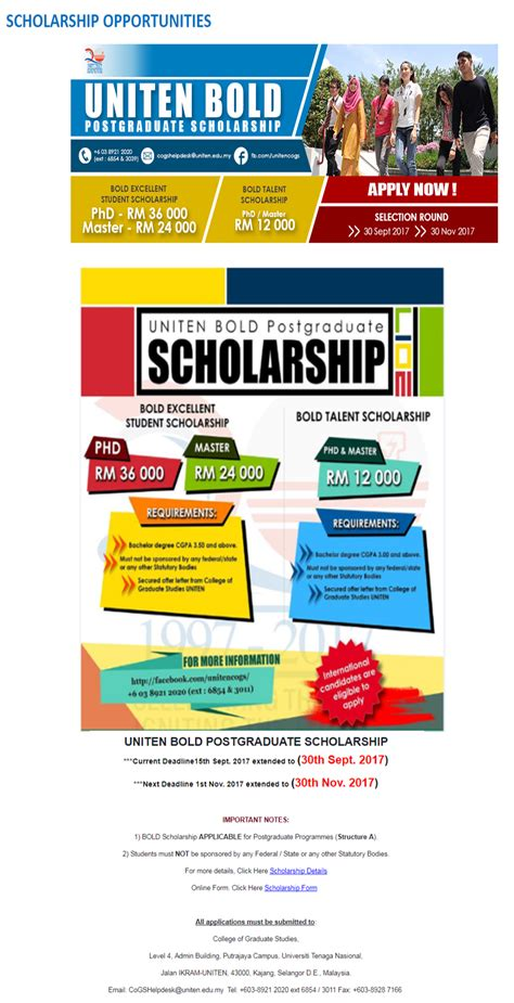 Scholarships For Mba Students In Pakistan by Uniten Bold Postgraduate Scholarship For International