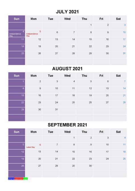 printable july august september  calendar word