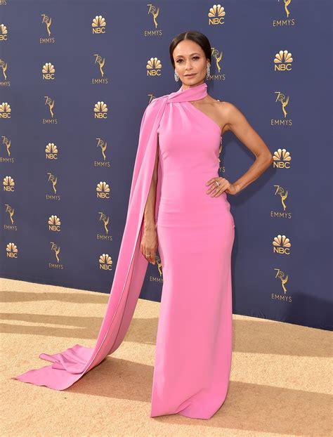 tracee ellis ross pink dress tracee ellis ross emmy 2018 dress wins on the red carpet