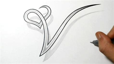 tattoo letters v drawing the letter v with a heart design drawing basics