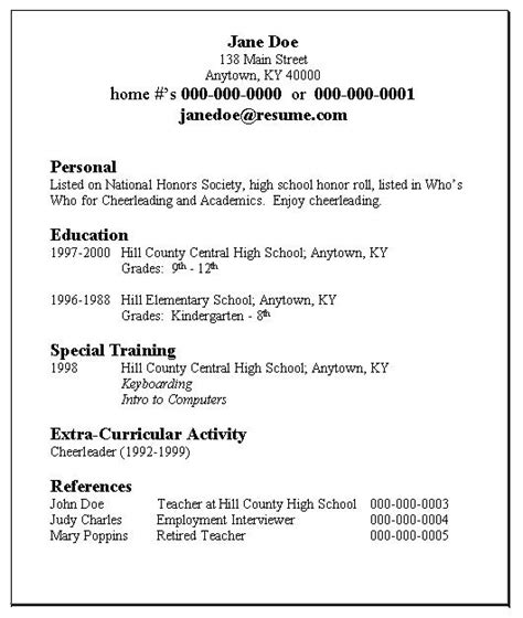 Simple Exle Of Resume by Student Resume Exle By E