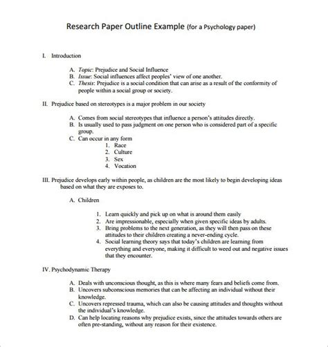 how to make research paper outline research paper outline template 9 free word excel pdf