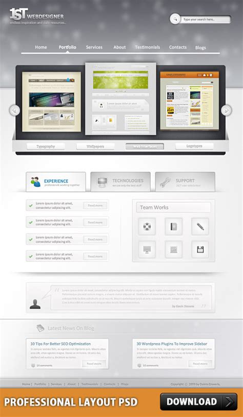 layout design psd photoshop web design professional layout psd download