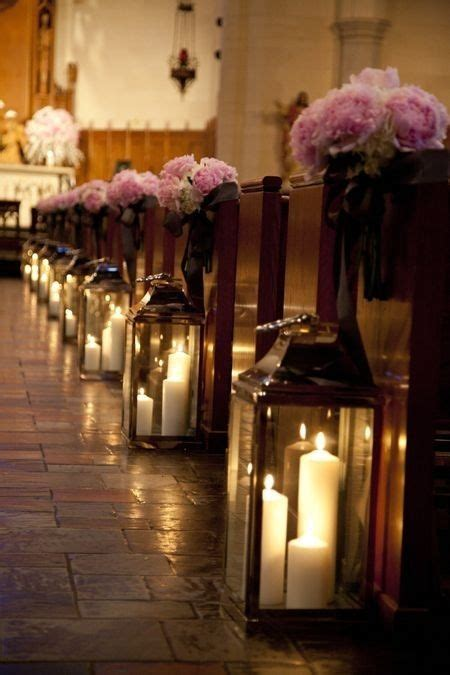 Wedding Aisle Bouquets by Glass Lanterns And Flower Bouquets Aisle Decor For Church