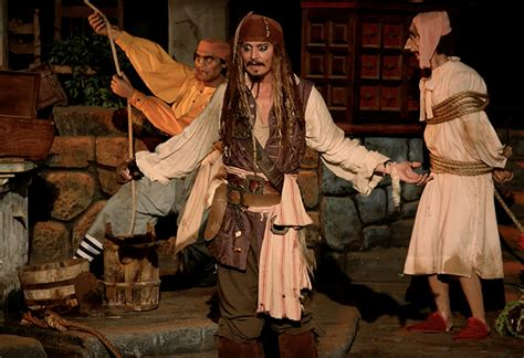 johnny depp on pirates of the caribbean disneyland ride see the official video of the johnny depp s disneyland