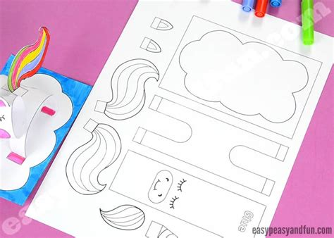 3d Construction Paper Unicorn Craft Printable Template Easy Peasy And Fun Unicorn Craft Template