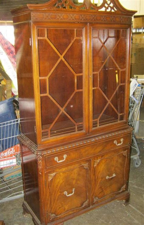 Vintage Glass Door Cabinet Vintage China Cabinet 1 Crica 1930 S 2 Glass Doors Lower 1 Drawer 2 Door Cabinet Ap