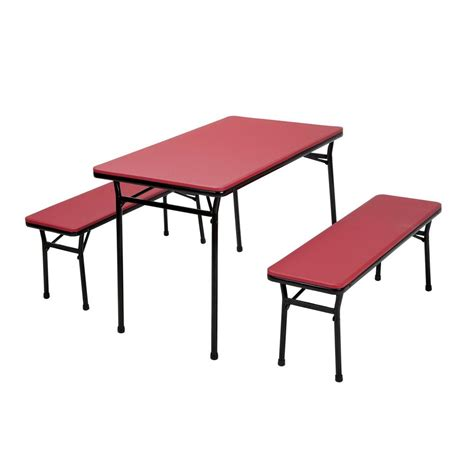 Folding Table And Bench Set Cosco 3 Folding Table And Bench Set 37331rbk1e The Home Depot
