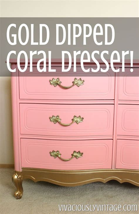 Gold Dipped Dresser by Hometalk Dresser Makeover With Coral Gold Dipped