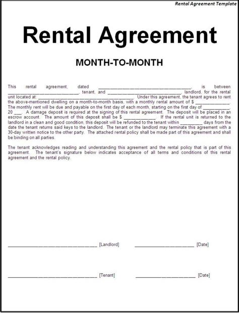 nice editable rental agreement template in doc with