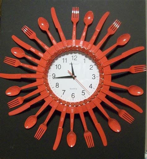 hearts aflame recycled kitchen utensil clock