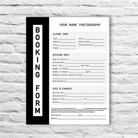 booking form template booking form photography contract form session booking