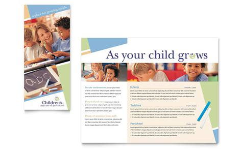 nursery brochure templates free child care preschool brochure template design
