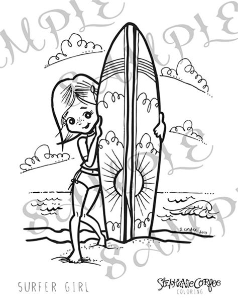 coloring pages surfer girl items similar to surfer girl coloring page instant