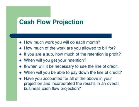 sle construction cash flow projection managing cash flows on construction projects