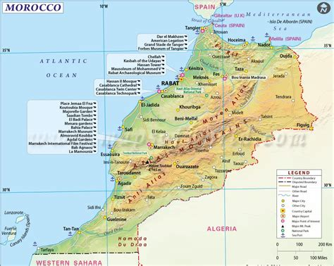 physical map of morocco morocco map fez images