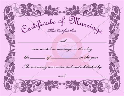 blank marriage certificate template marriage certificate template certificate templates