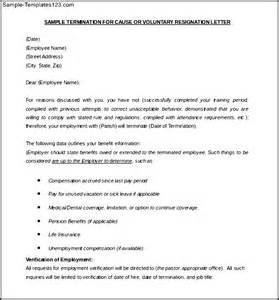 voluntary termination letter template free example