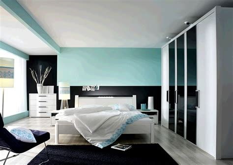 design ideas of modern bedroom color scheme with black blue wall paint colors and