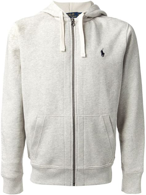 Hoodie Zipper Grey polo ralph zip up hoodie in gray for lyst