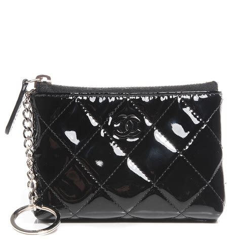chanel patent quilted zip coin purse black 95657