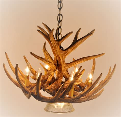 Deer Antler Chandeliers Whitetail Deer 9 Antler Cascade Chandelier With 1 Downlight Cast Horn Designs