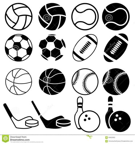 black and white balls sports balls icons stock illustration image of black