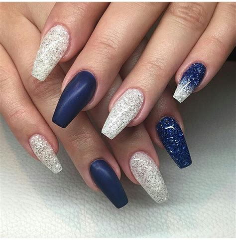 Navy Light Blue Facile Dress blue nails matte and glossy glitter white blue coffin