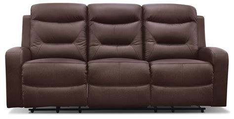 Genuine Leather Reclining Sofa River Genuine Leather Power Reclining Sofa Brown The Brick