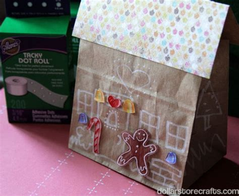 Paper Gingerbread House Craft - paper bag gingerbread house family crafts