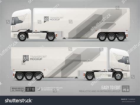 trailer templates realistic truck trailer branding mockup template stock