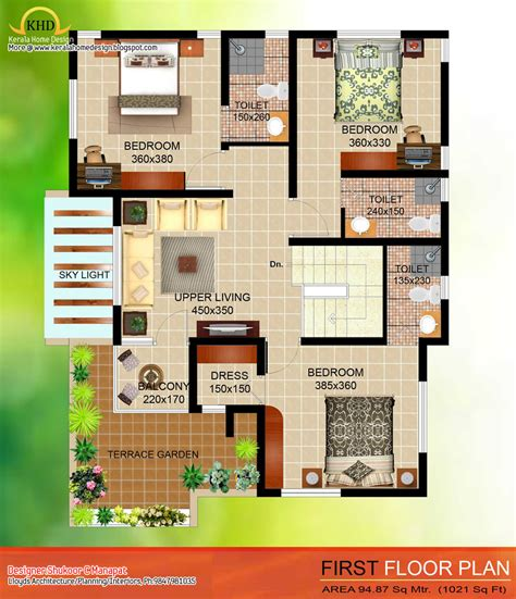 first floor house plans in india 2035 sq ft 4 bedroom contemporary villa elevation and