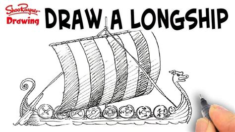 how to draw a viking boat how to draw a viking longship spoken tutorial youtube