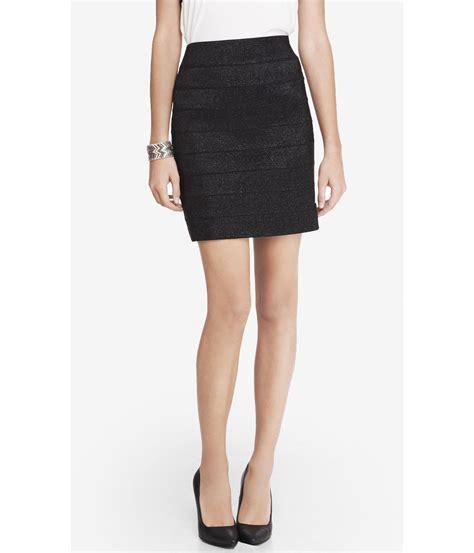 express metallic elastic stripe mini skirt in black lyst