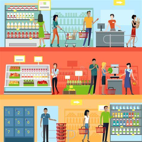design art market people in supermarket interior design stock vector image