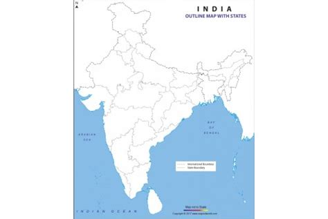 India Political Map Outline With States by Buy India Outline Map With States