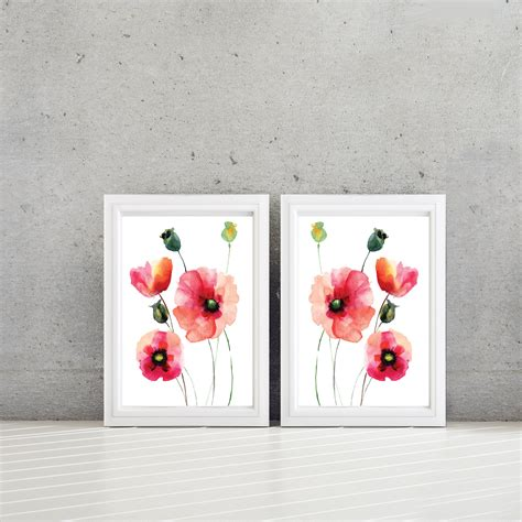 Poppy Home Decor by Watercolor Poppy Flower Art Home Decor Bathroom Art Bath