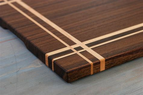 Pattern Wood Cutting Board | walnut maple wood cutting board or serving board in a