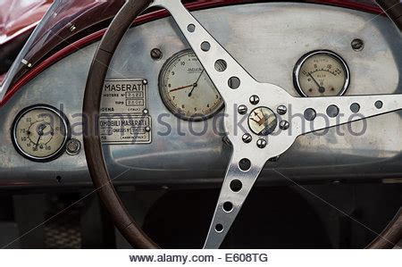 maserati steering wheel driving transport dashboard and steering wheel of 1950s alvis car