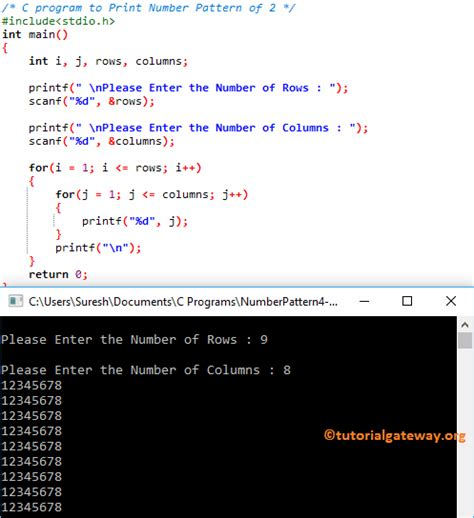number pattern generation in c programs c program to print number pattern 2