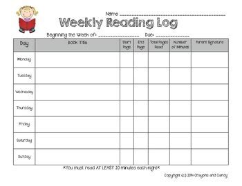 printable weekly reading log weekly reading log by crayons and candy teachers pay