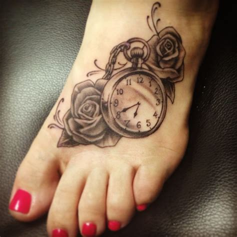 clock and rose tattoos 10 foot designs pretty designs