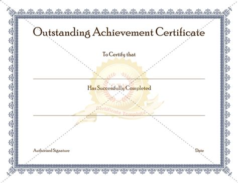 outstanding performance certificate template outstanding achievement certificate template certificate