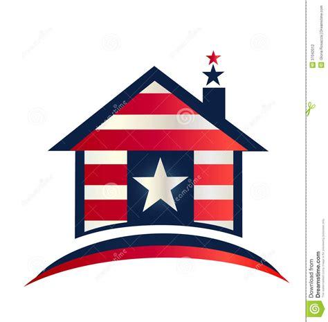 American Home Design Logo House With American Flag Design Logo Stock Photography