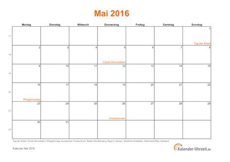 Kalender 2016 Mai Mai 2016 Kalender Mit Feiertagen