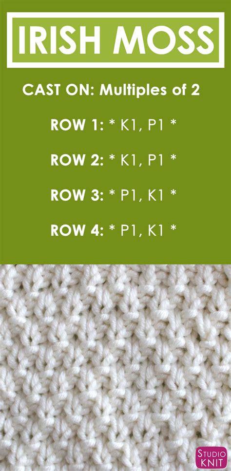 knitting pattern download pdf how to knit the irish moss knit stitch pattern with video