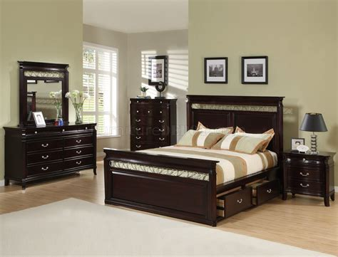 Espresso Finish Size Bedroom Set espresso finish contemporary bedroom w storage bed